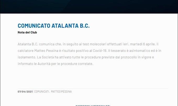 Atalanta, Pessina positivo al Covid