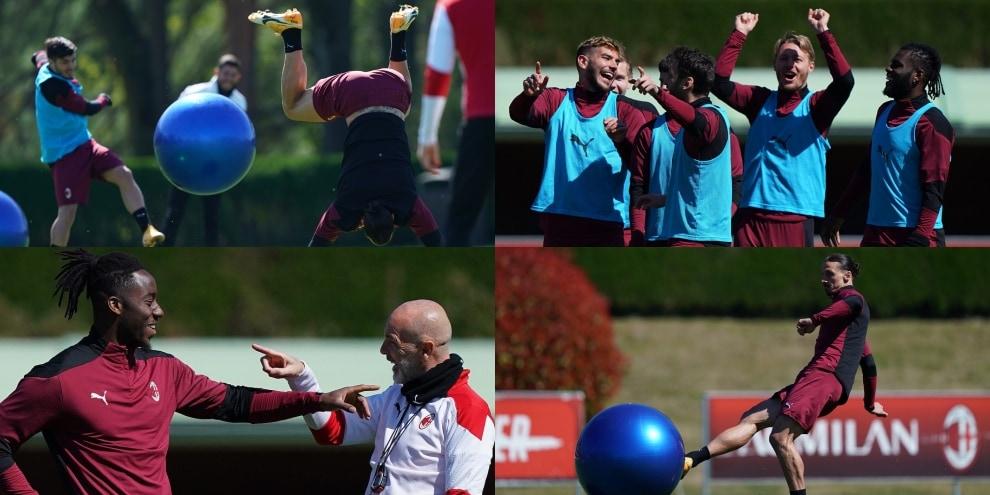 Milan, Ibrahimovic e Pioli scatenati in allenamento con la fitball
