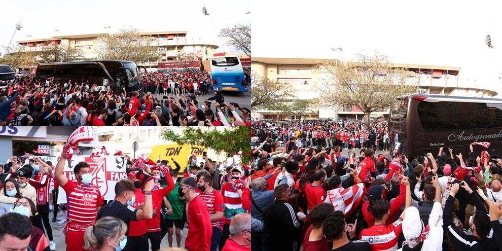Incredibile assembramento a Granada prima del match con lo United