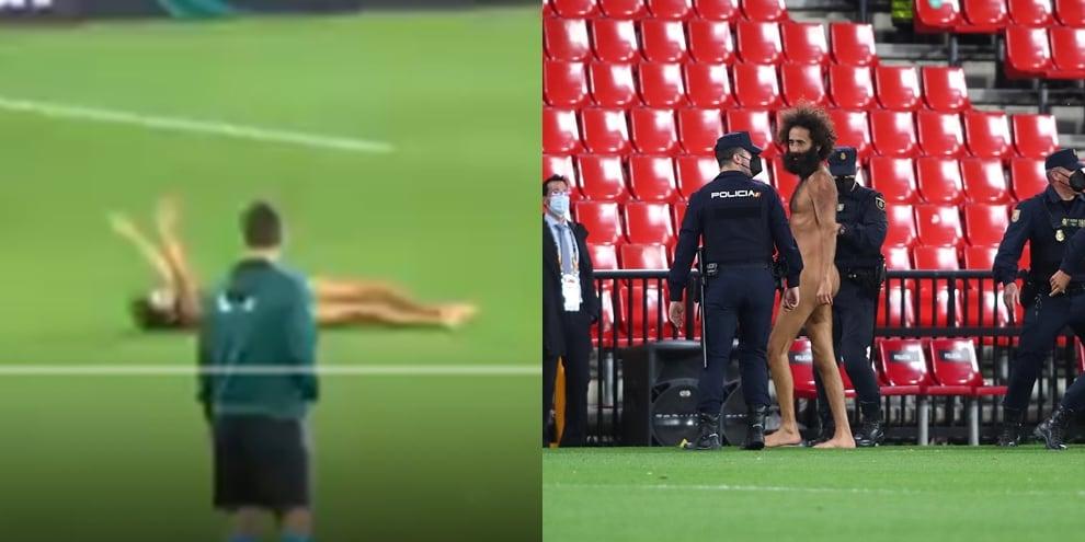 L'invasione di campo durante Granada-Manchester United. L'uomo è nudo!