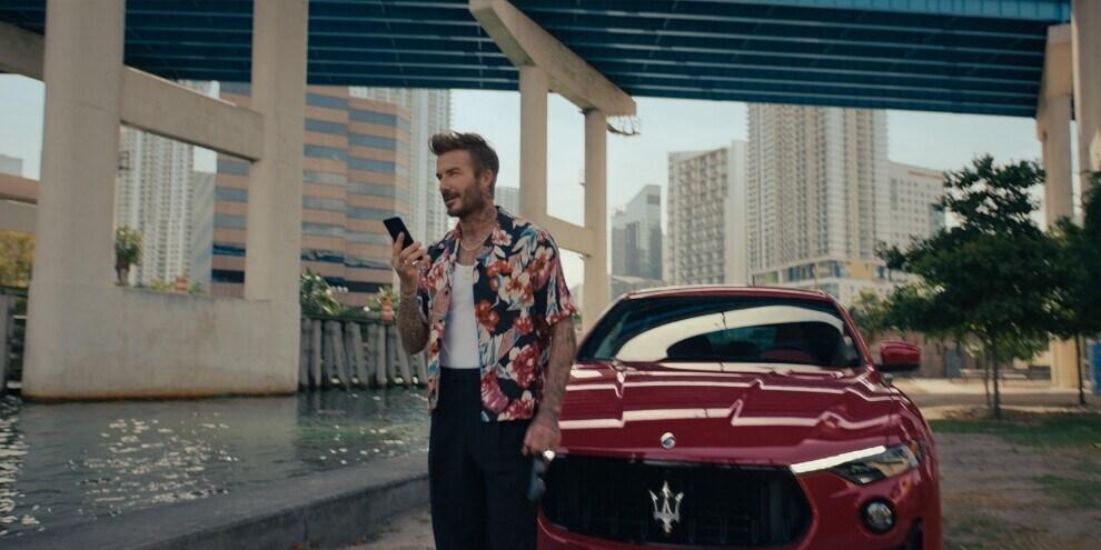 David Beckham alla guida della Maserati Levante Trofeo