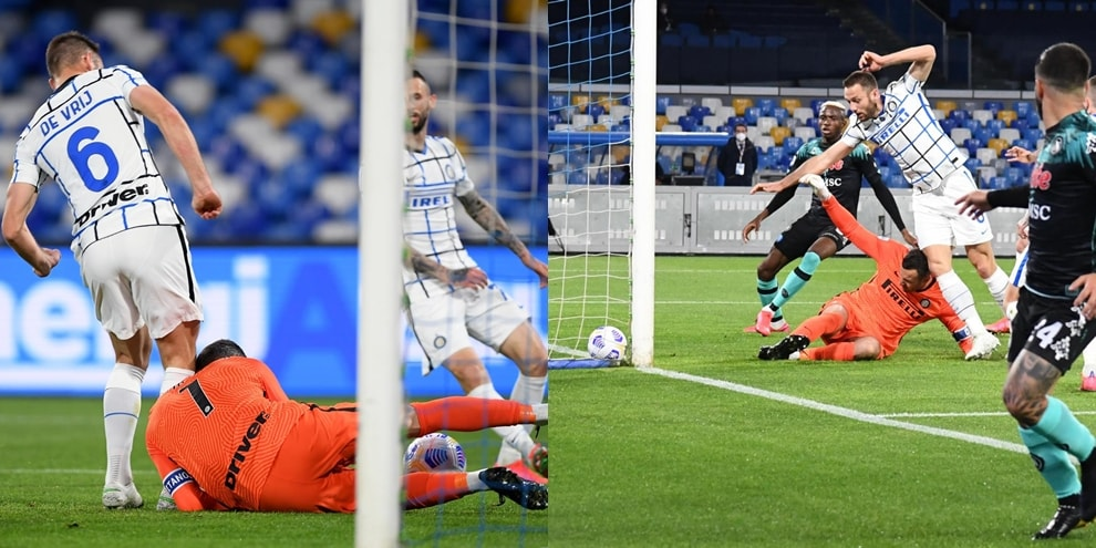 Napoli-Inter, la sequenza dell'errore di Handanovic e De Vrij