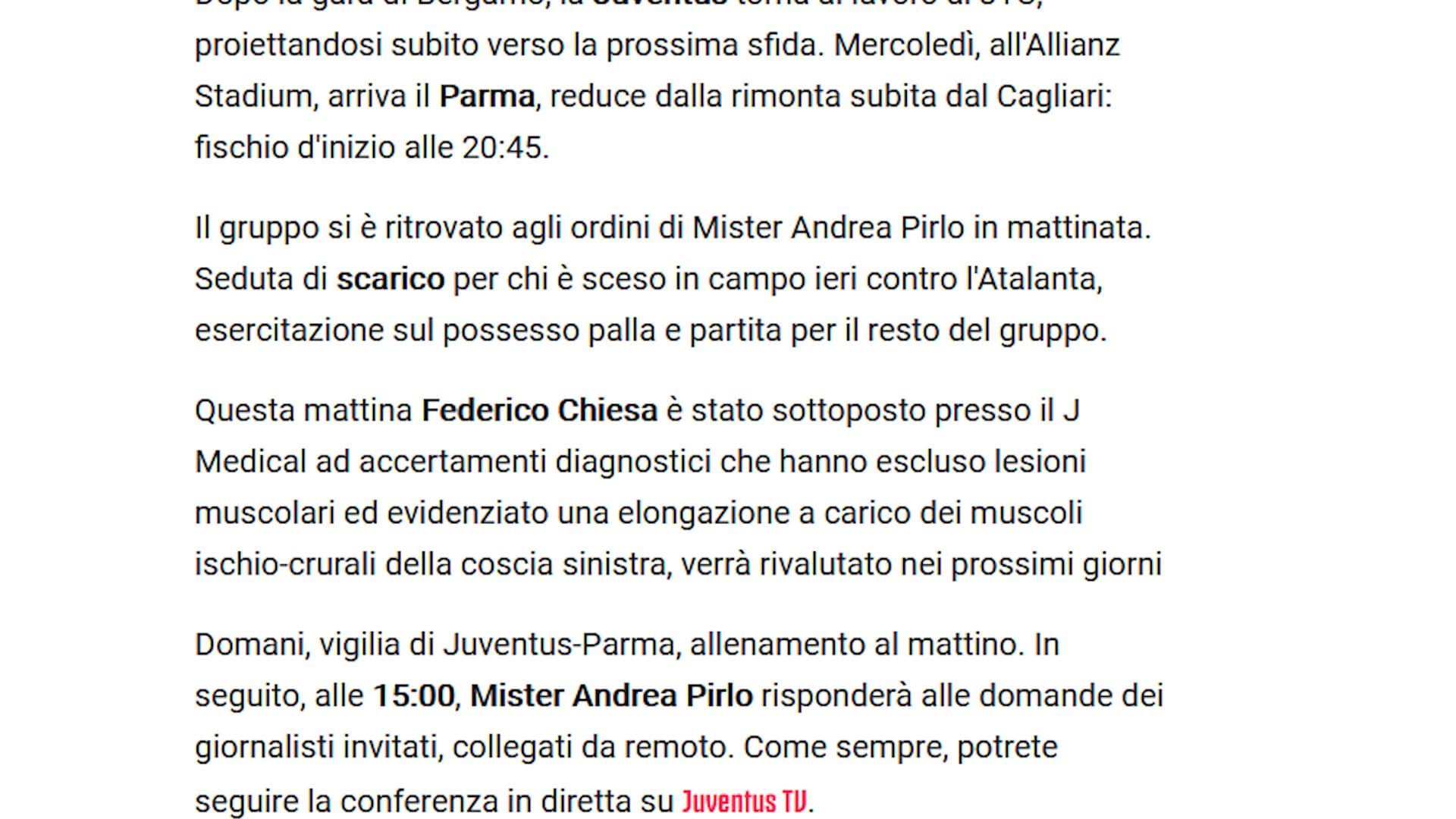 Juve, per Chiesa elongazione della coscia sinistra: out con il Parma