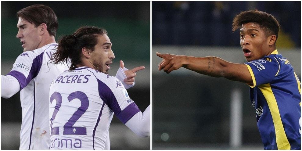 Vlahovic e Caceres a segno: colpo Fiorentina a Verona