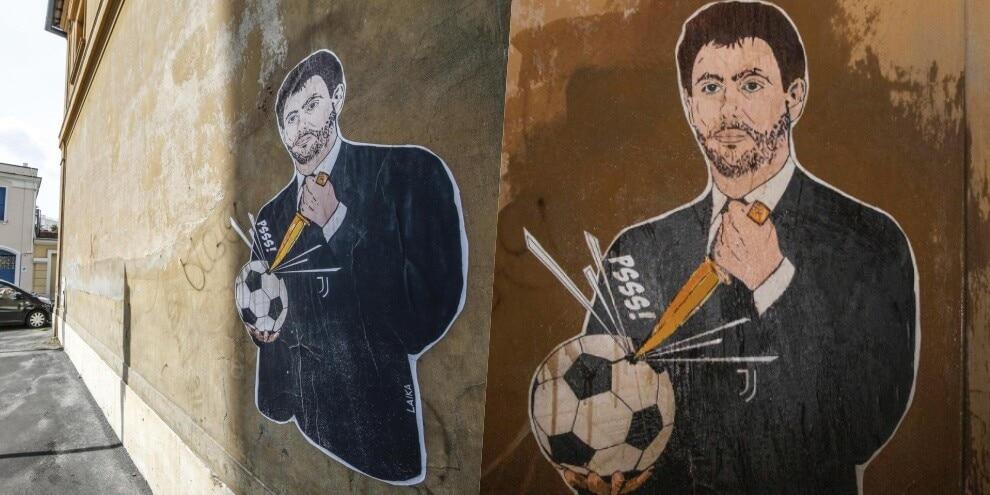 Superlega, Agnelli buca il pallone: il murales a Roma