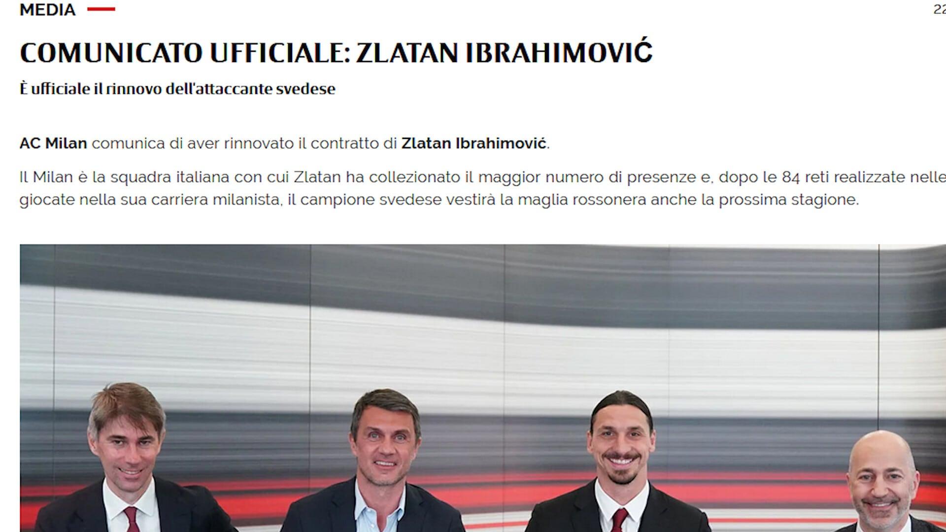 Ufficiale: Ibrahimovic rinnova con il Milan
