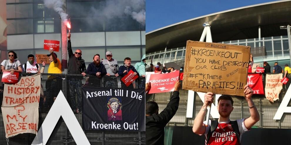 Superlega, si scatena la protesta dei tifosi dell'Arsenal