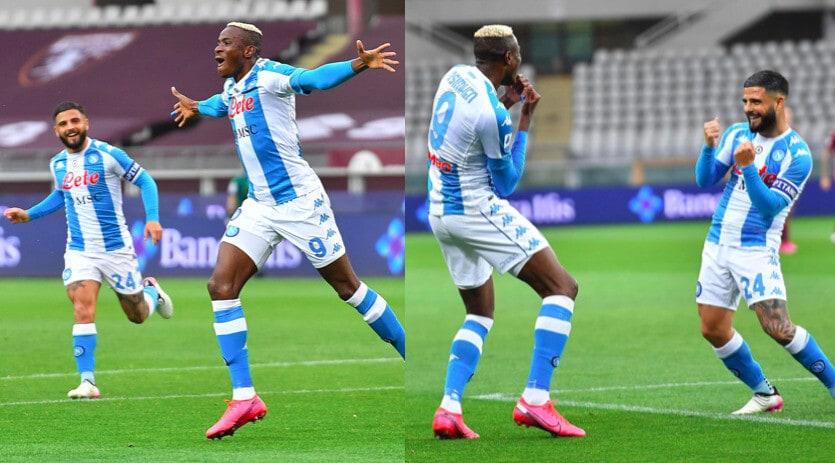 Napoli, Osimhen segna al Torino: balletto con Insigne dopo il gol