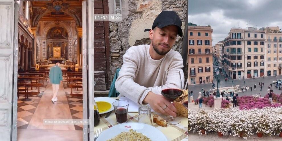 Mertens a spasso per Roma tra Piazza di Spagna e Trastevere