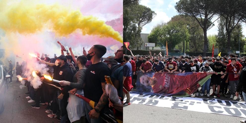 Roma, tifosi scatenati a Trigoria: ecco lo spettacolo dei fumogeni e delle bandiere