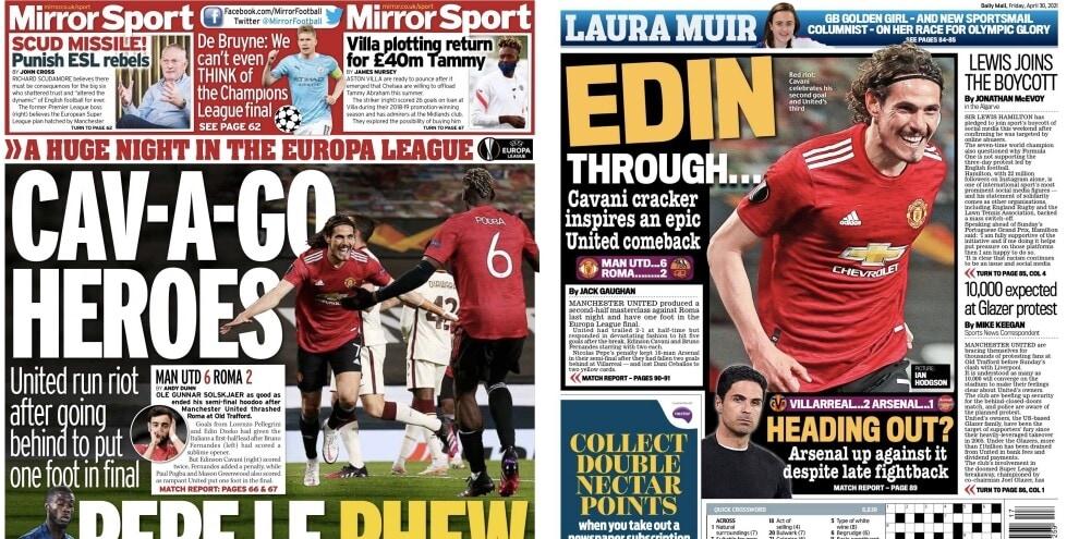 """United-Roma, la serata di Old Trafford sui giornali inglesi: """"Eroi"""""""