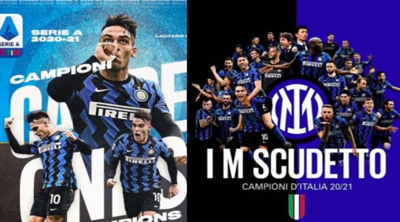 """Inter, i giocatori festeggiano sui social: """"Campioni d'Italia!"""""""