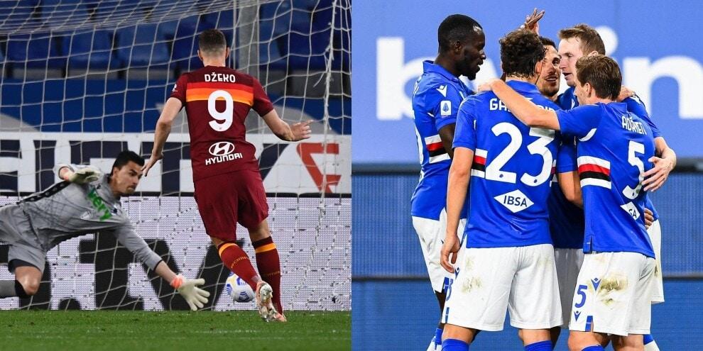 Dzeko sbaglia il rigore e la Roma va ko con la Sampdoria