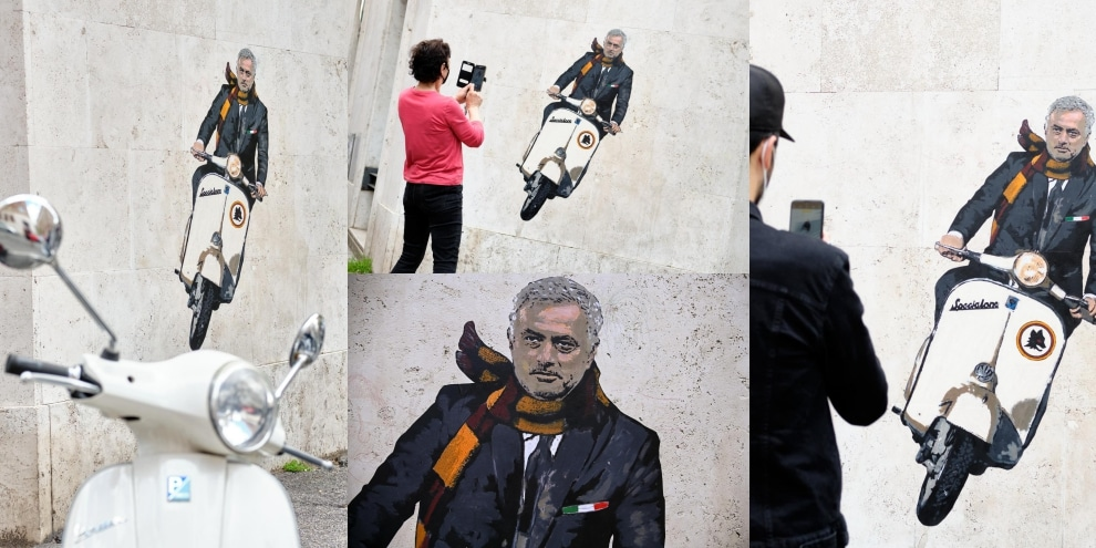Roma, gli scatti del murale dedicato a Mourinho