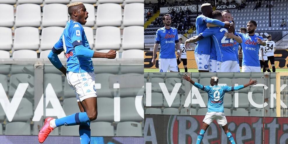 Zielinski, doppio Osimhen e Lozano: il Napoli travolge lo Spezia