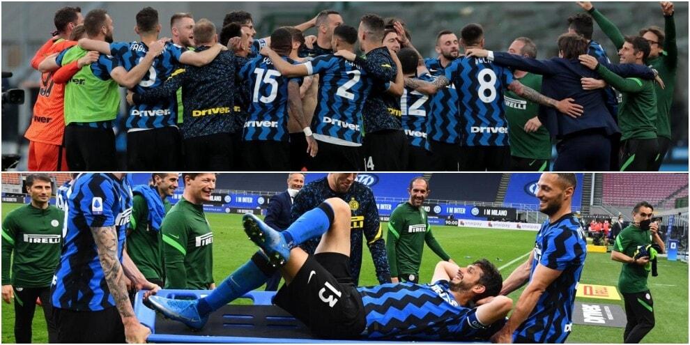 Inter, la festa scudetto: Ranocchia finisce in... barella