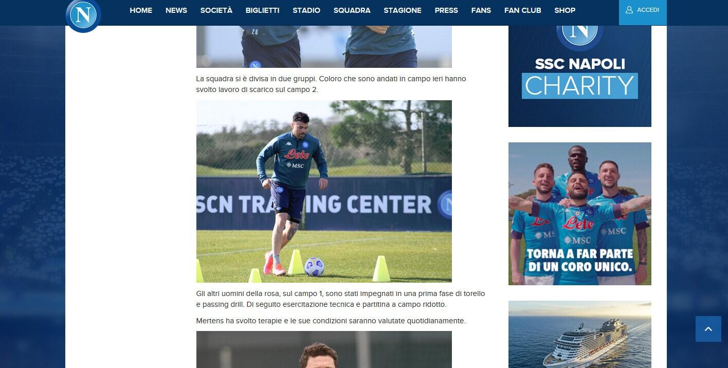 Napoli, lavoro di scarico per la squadra e terapie per Mertens