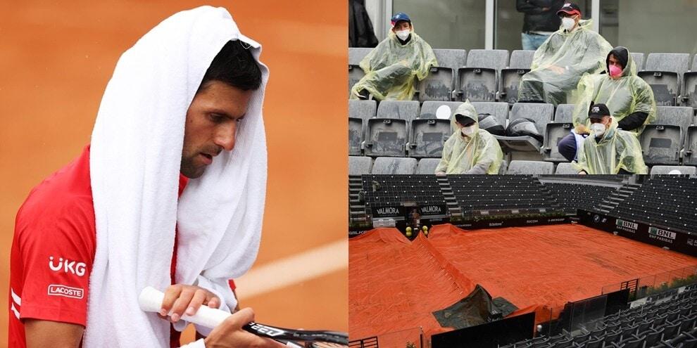Djokovic-Tsitsipas, match interrotto: che diluvio al Foro Italico!