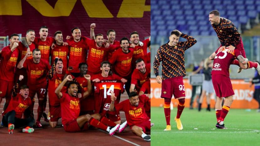 Roma, festa in campo dopo la vittoria nel derby