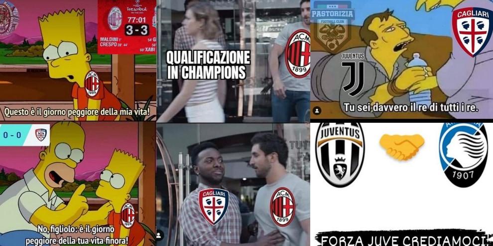 Il Milan frena e la Juve accorcia: sui social partono le ironie