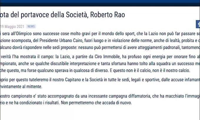 """Caso Immobile-Cairo, comunicato Lazio: """"Pronti a tutelare il nostro capitano"""""""