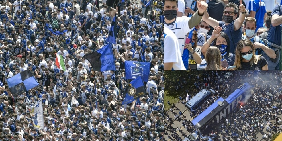 Inter, tifosi in festa per lo scudetto: in migliaia a San Siro