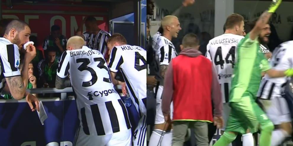 La Juve guarda il Napoli in tv: poi la panchina esplode di gioia!