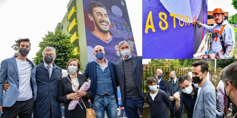Astori, inaugurato il murales a Firenze: c'è anche Pioli
