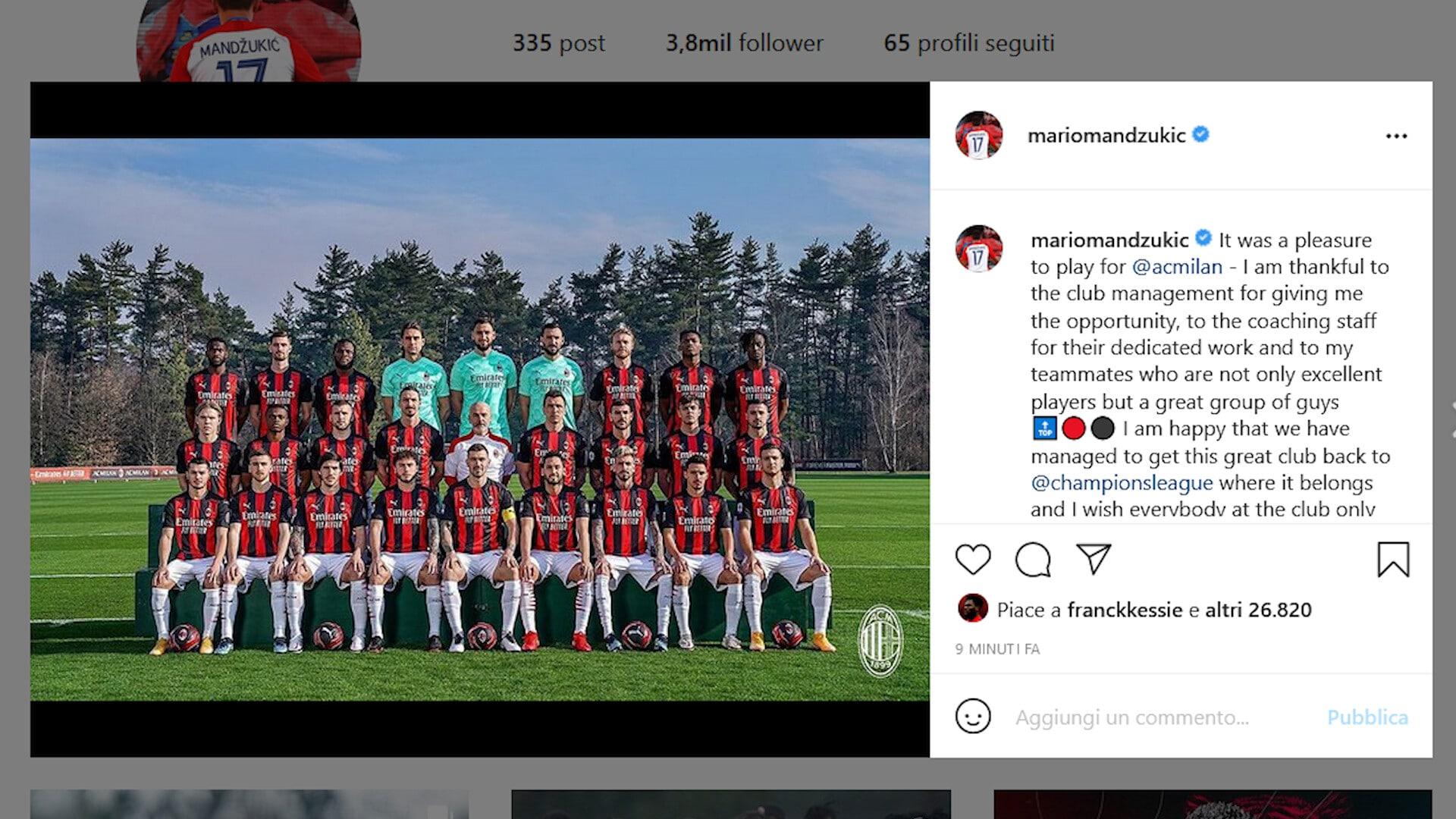 """Milan, Mario Mandzukic saluta: """"Un piacere giocare per questi colori"""""""