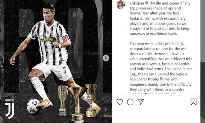 CR7, messaggio misterioso su Instagram
