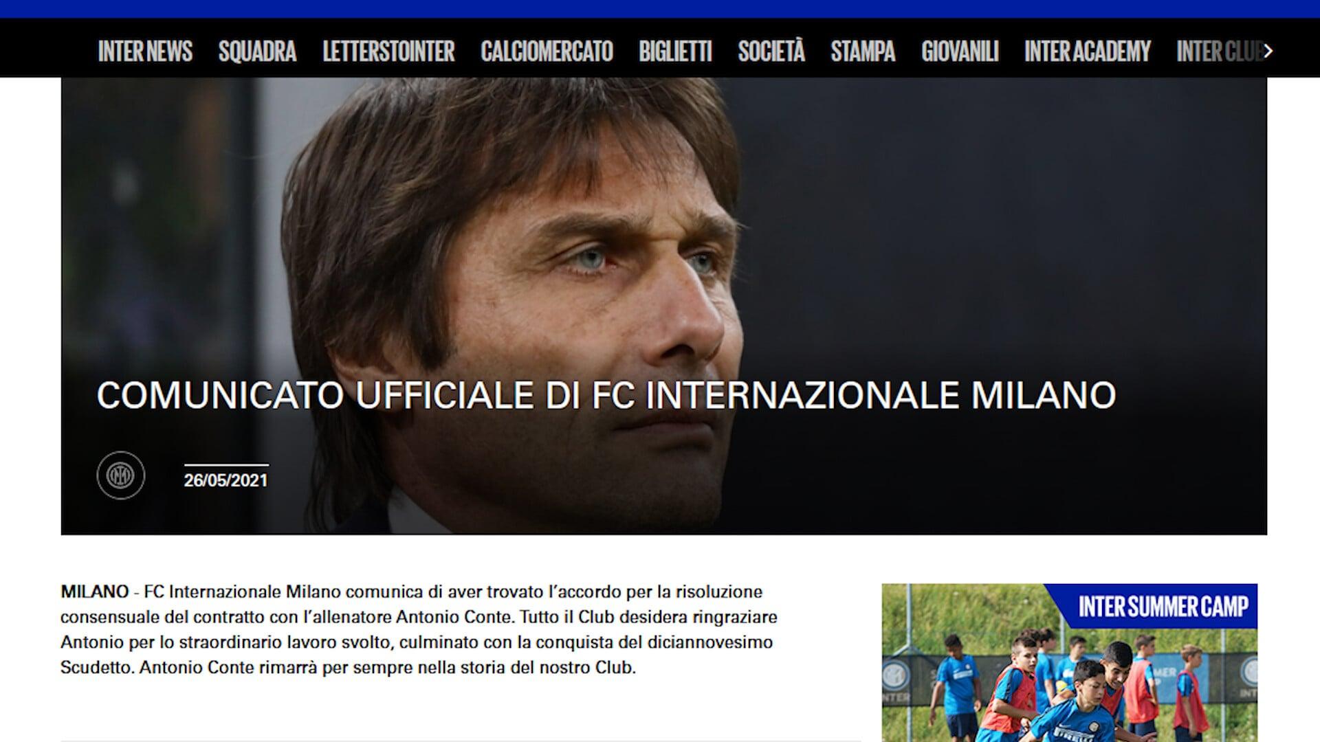 Ufficiale: Inter-Conte, è addio