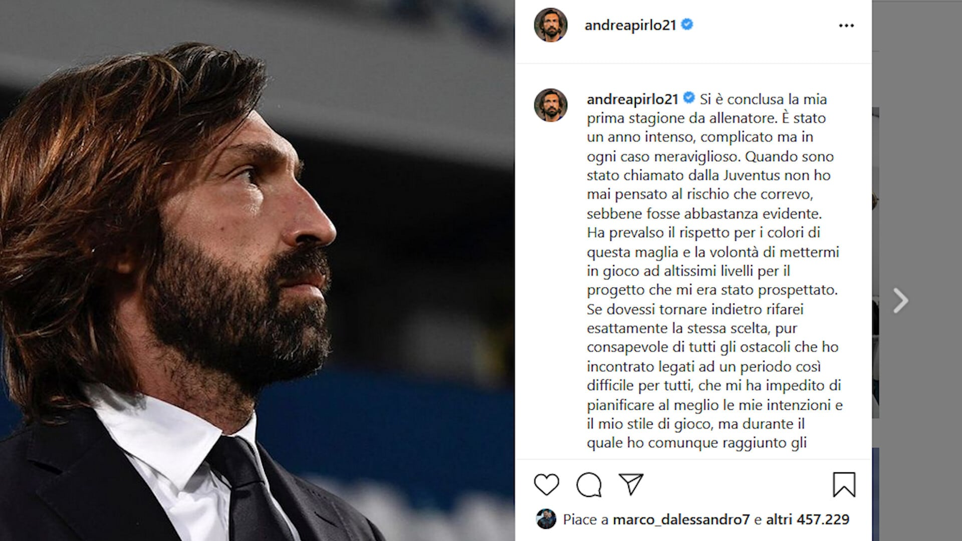 """Il saluto di Pirlo: """"Juve, finale che non mi aspettavo"""""""