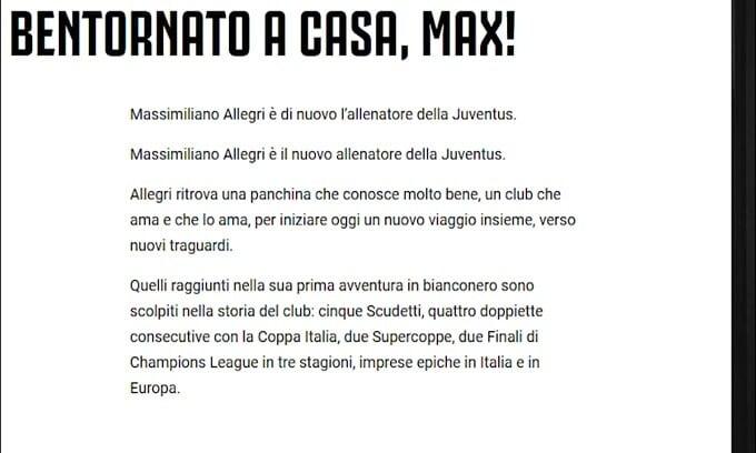 Ufficiale: Allegri torna alla Juve