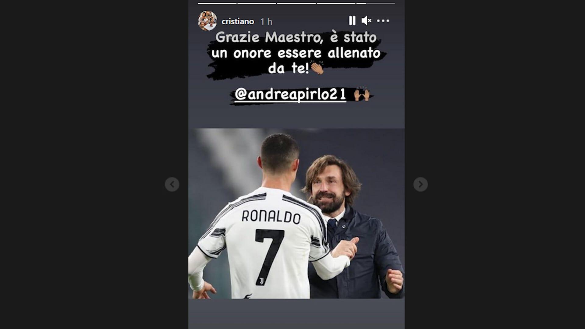 """Juve, Ronaldo saluta Pirlo: """"Grazie Maestro. È stato un onore"""""""