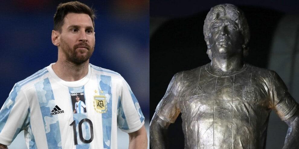 L'Argentina di Messi omaggia Maradona: maglia e statua