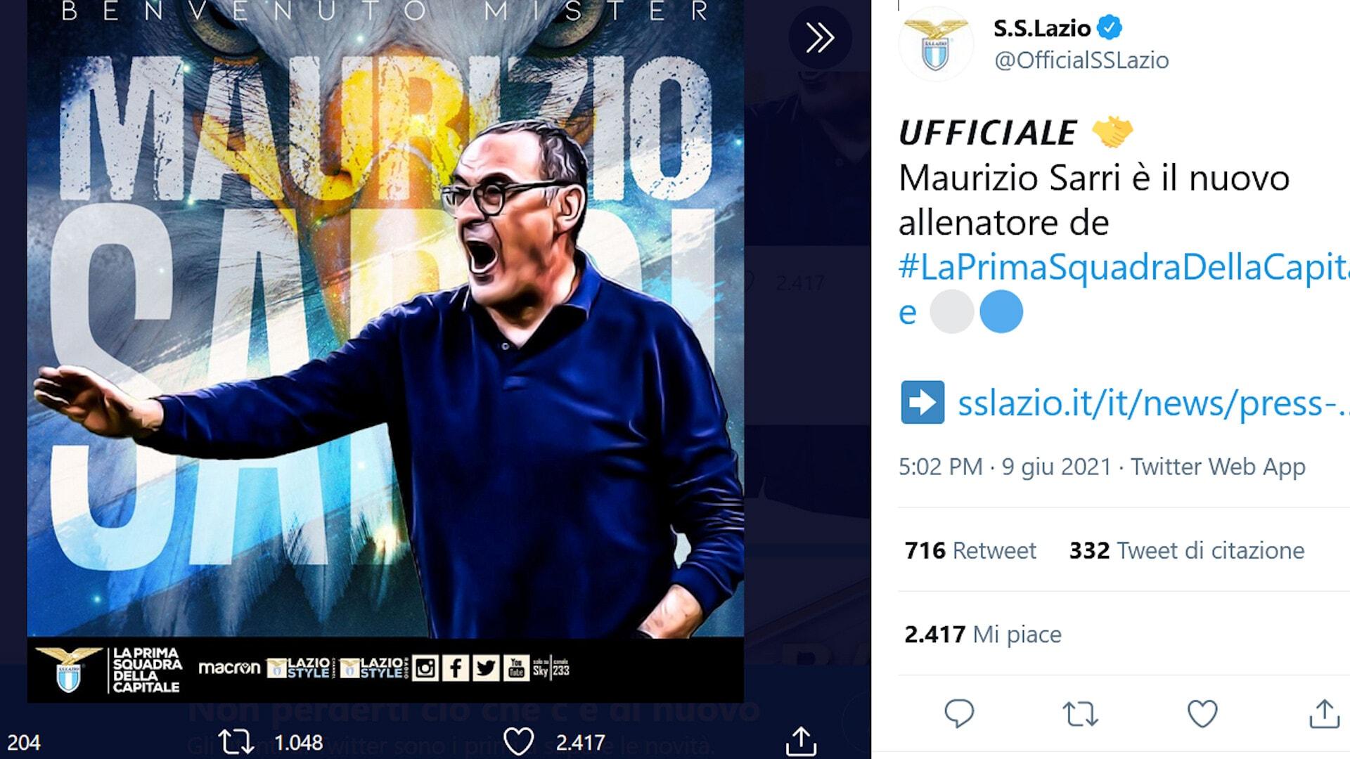 Lazio, ufficiale: Sarri è il nuovo allenatore