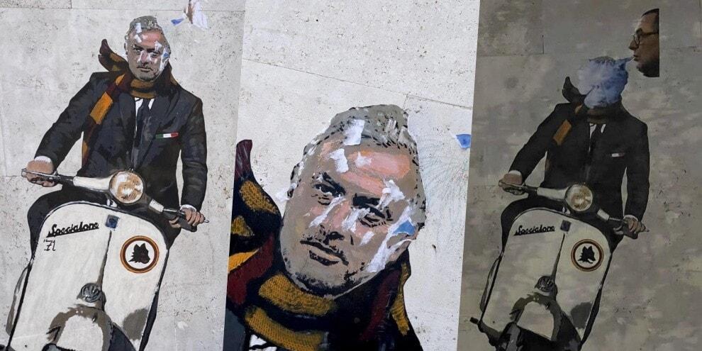 "Sarri ""fuma"" su Mourinho: murale a Roma rovinato. E spunta il 71..."