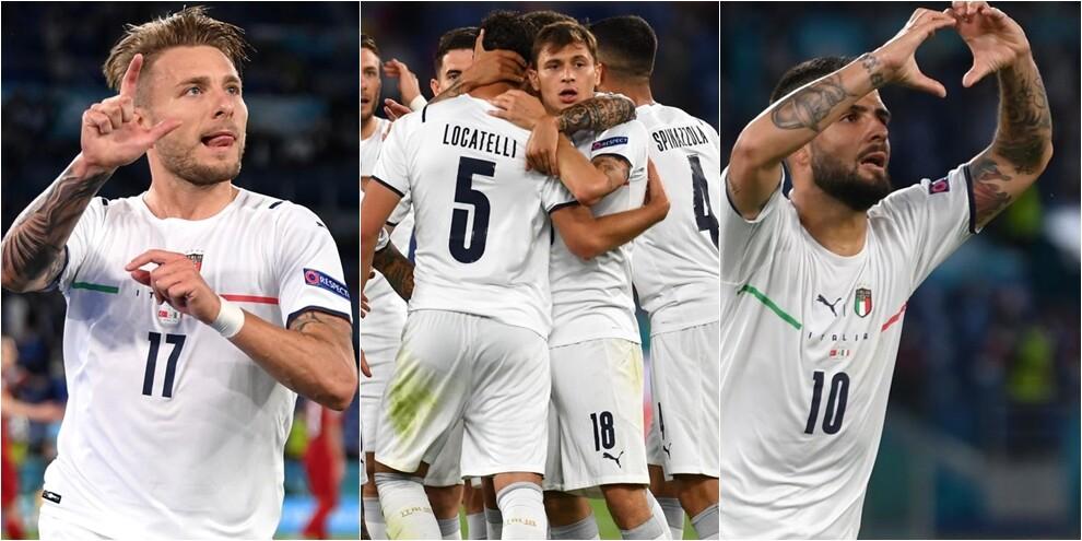 Europei, l'Italia parte bene: 3-0 firmato da Immobile e Insigne