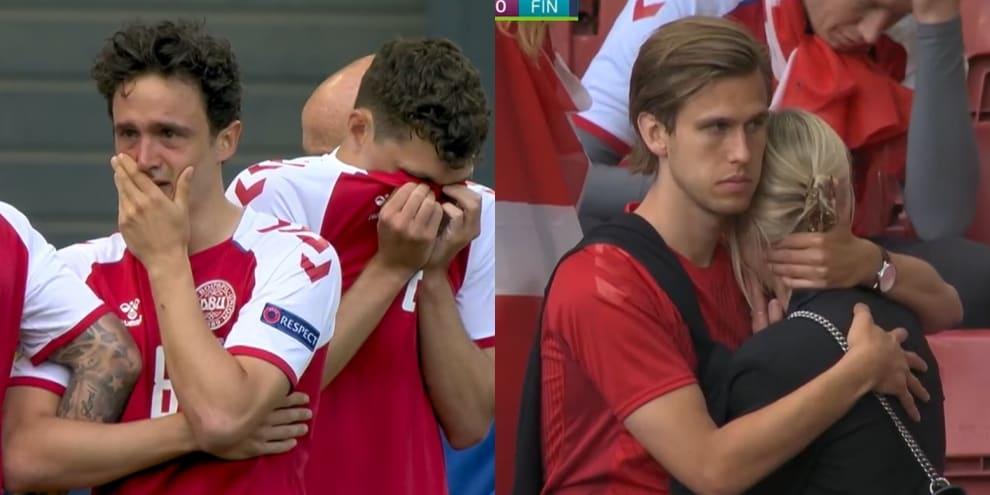 Euro 2020, disperazione allo stadio dopo il malore di Eriksen