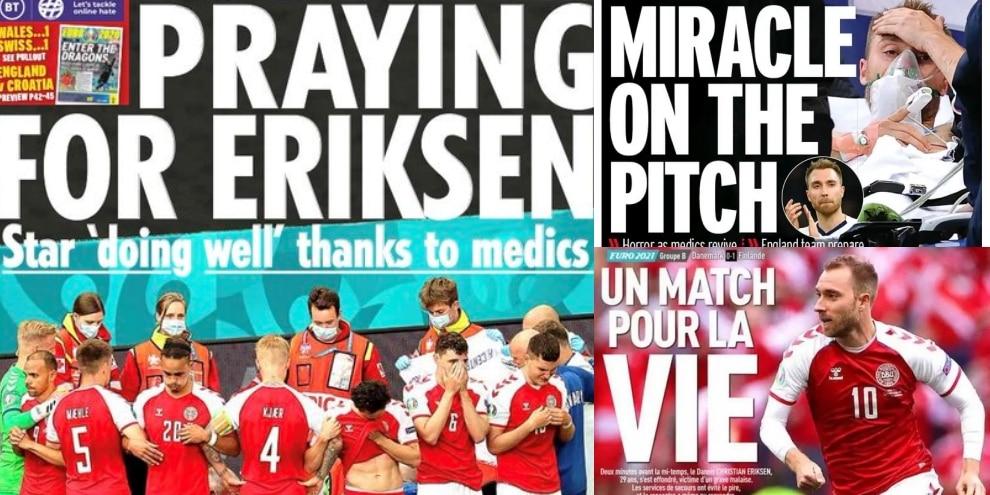 """Il dramma di Eriksen visto dalla stampa estera: """"Un match per la vita"""""""