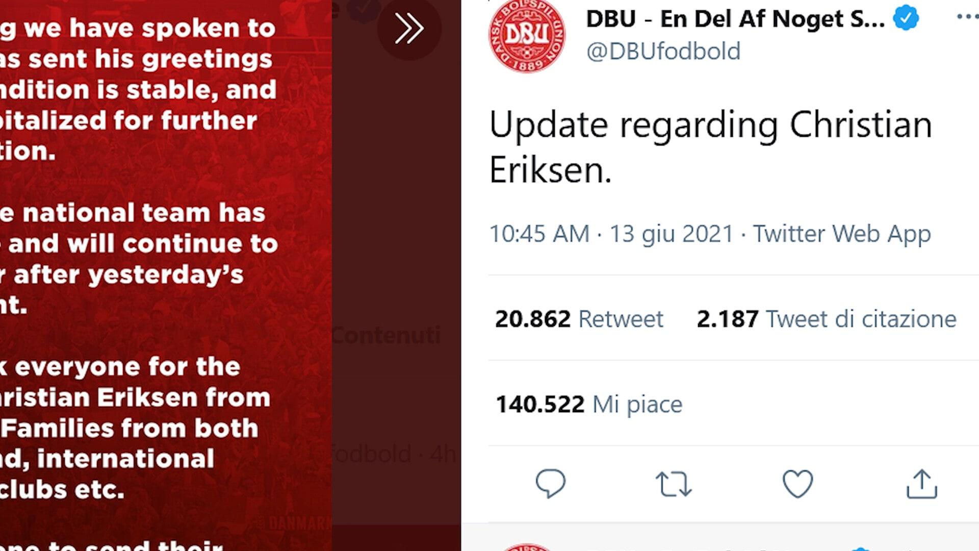 """Eriksen, la federcalcio danese: """"Condizioni stabili"""""""
