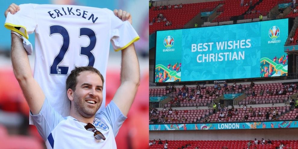 Eriksen, tutto Wembley in piedi: magliette in alto e applausi!