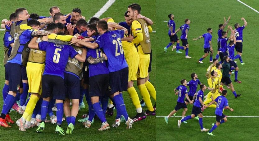 Italia, festa in campo dopo il trionfo con la Svizzera