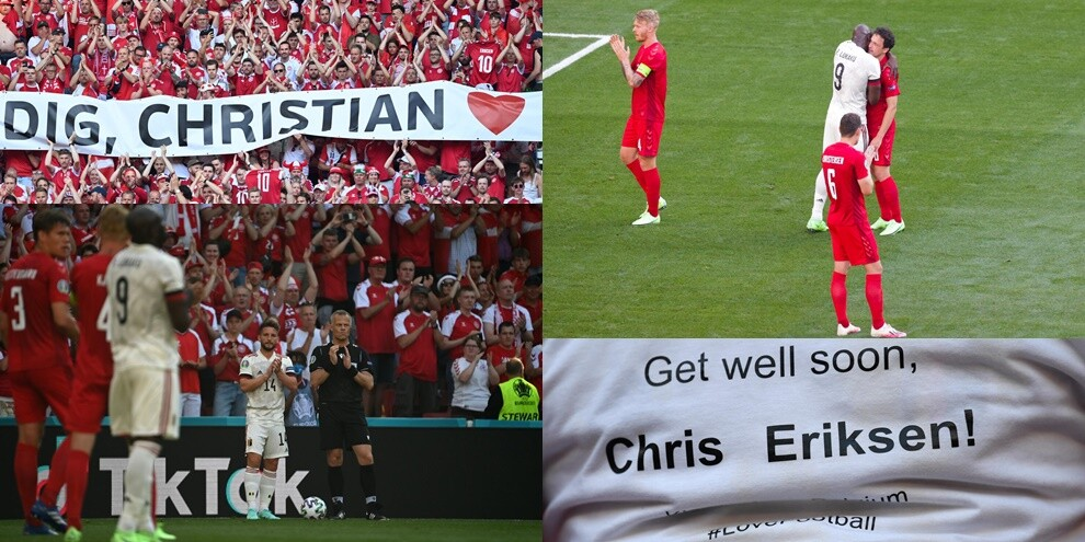 Europei, Danimarca-Belgio: commovente dedica ad Eriksen al 10'