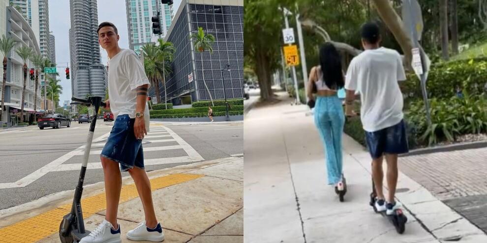 Dybala e Oriana sfrecciano per Miami: la sfida in monopattino