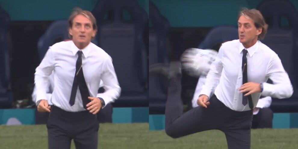 Mancini infiamma l'Olimpico: colpo di tacco al volo!