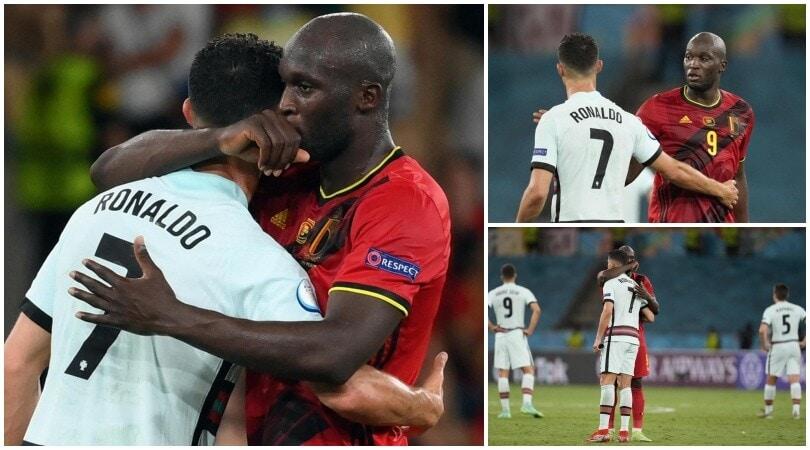 Lukaku consola Ronaldo: l'abbraccio a fine partita