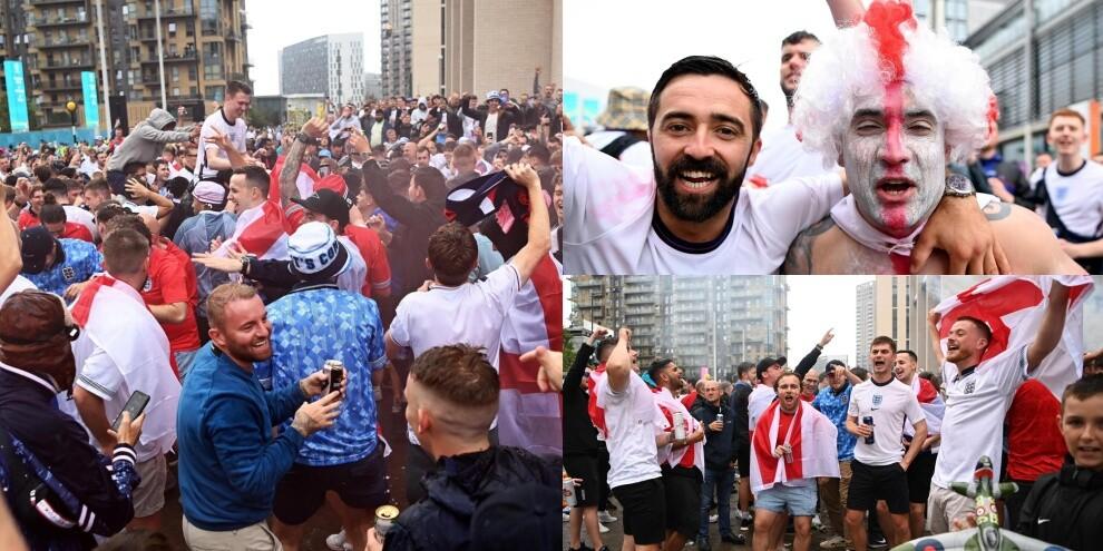 Inghilterra-Germania, tifosi inglesi scatenati fuori Wembley