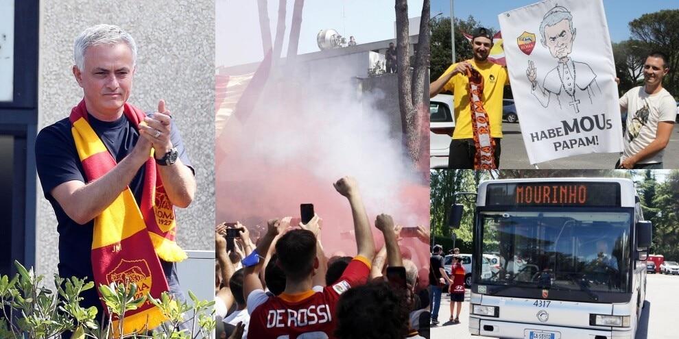 Mourinho si affaccia e i tifosi della Roma impazziscono