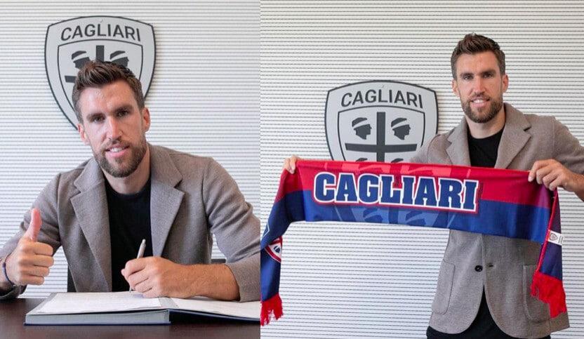 Cagliari, ecco Strootman: firma e foto con la sciarpa rossoblù
